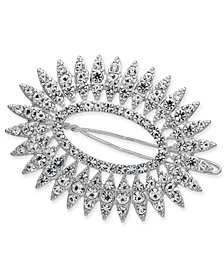 I.N.C. Silver-Tone Crystal Oval Hair Barrette, Created for Macy's