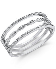 I.N.C. Silver-Tone Crystal Triple-Row Bangle Bracelet, Created for Macy's