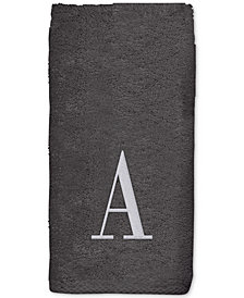 Avanti Grey Monogram Embroidered Fingertip Towel