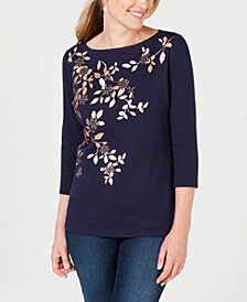 Karen Scott Cotton Metallic-Graphic Top, Created for Macy's