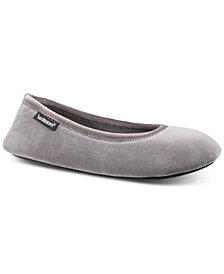 Isotoner Signature Victoria Stretch Velour Ballerina Slippers with Memory Foam