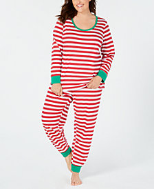 Matching Family Pajamas Plus Size Women's Holiday Stripe Pajama Set, Created For Macy's
