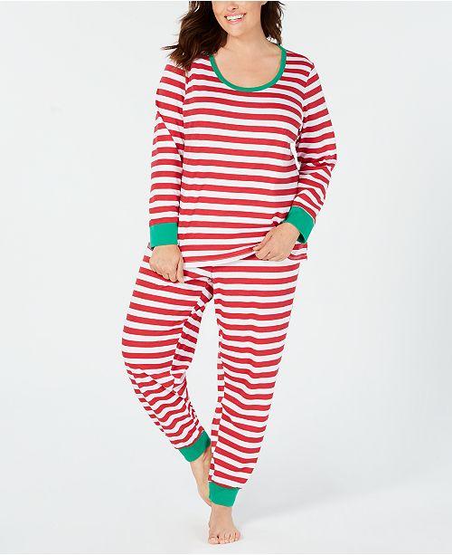 526977327 ... Family Pajamas Matching Plus Size Women s Holiday Stripe Pajama Set