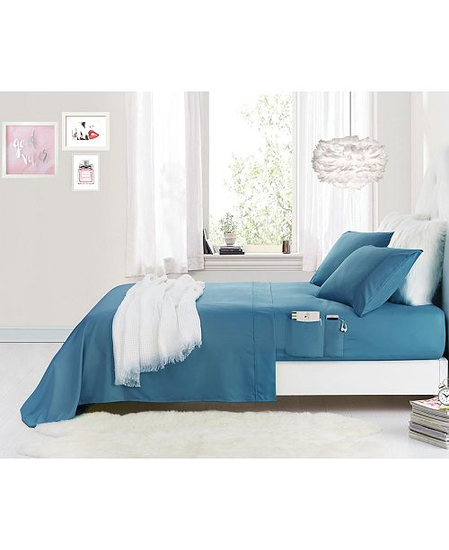 Cathay Home Inc. Benzoyl Peroxide-Resistant Twin Sheet Set with Storage Pockets