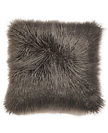"""Hallmart Collectibles Mongolian Faux-Fur 18"""" Square Decorative Pillow Pair, Created for Macy's"""
