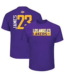 Majestic Men's LeBron James Los Angeles Lakers Vertical Name and Number T-Shirt