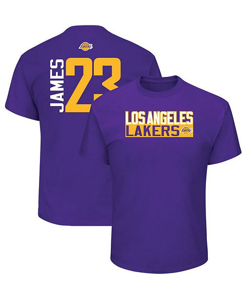 05c9f0e18 Majestic Men s LeBron James Los Angeles Lakers Vertical Name and Number T- Shirt