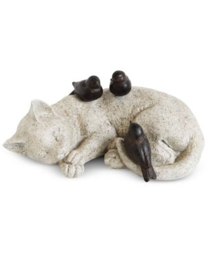 Image of Cat Sleeping with Birds Figurine