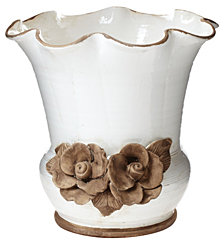 Vietri Rustic Garden Scalloped Planter w/ Flowers