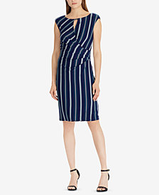 Lauren Ralph Lauren Striped Cap-Sleeve Dress