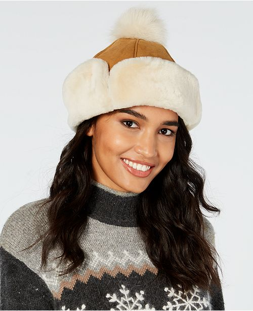 UGG® Flap Shearling Hat - Handbags   Accessories - Macy s 1ab428b284df