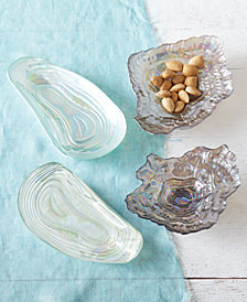 Sea Glass Set of 4 Lustrous Shell Plates Includes 2 Designs Each in 2 Sizes - Clam and Oyster