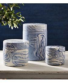 Terre Melee Set of 3 Blue Covered Jars