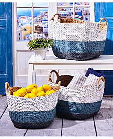 Santorini Set of 3 Blue and White Hand Woven Baskets with Handles Includes 3 Sizes
