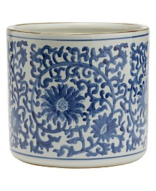 Two's Company Blue and White Lotus Flower Planter