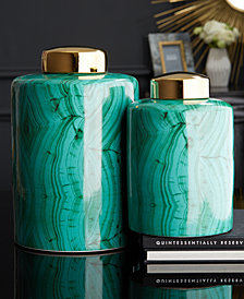 Set of 2 Malachite Pattern Tall Tea Jars with Gold Metallic Lid