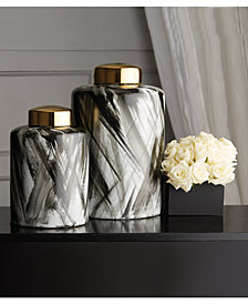 Abstracts Set of 2 Black and White Brush Stroke Covered Jars with Gold Metallic Lid