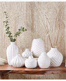 Artisan Carvings Set of 7 Bud Vases in White