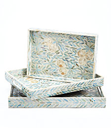 Palawan Flower Set of 3 Mother of Pearl Lacquered Trays