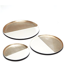 Accents Set of 3 Bamboo Champagne Metallic and White Decorative Trays