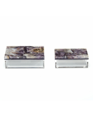 Two's Company Amethyst Boxes, Set of 2