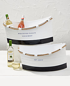 Ship Ahoy Set of 2 White Boat Buckets Assorted 2 Sayings - Whatever Floats Your Boat and Sip Ahoy