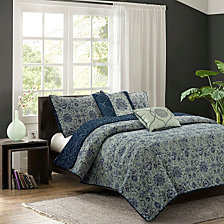 Bridget Sage 5-Piece Quilt Set, Full/Queen