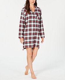 Charter Club Cotton Flannel Plaid Sleepshirt, Created for Macy's