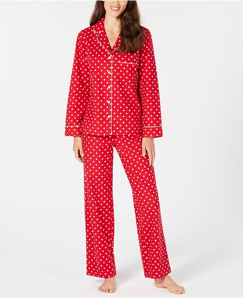 Red polka dot womens flannel pajama set