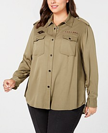 Trendy Plus Size Embellished Collared Shirt