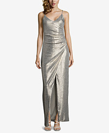Betsy & Adam Ruched Metallic Slit Gown