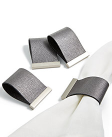 Hotel Collection Set of 4 Faux Leather Napkin Rings