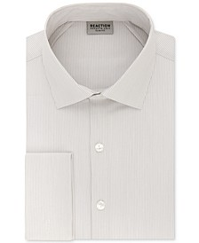 Men's Techni-Cole Slim-Fit Flex Collar Three-Way Stretch Performance Stripe French Cuff Dress Shirt