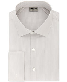 Kenneth Cole Reaction Men's Techni-Cole Slim-Fit Flex Collar Three-Way Stretch Performance Stripe French Cuff Dress Shirt
