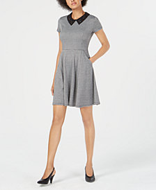 Maison Jules Embellished-Collar Houndstooth Fit & Flare Dress, Created for Macy's