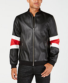 I.N.C. Men's Faux Leather Striped-Sleeve Jacket, Created for Macy's