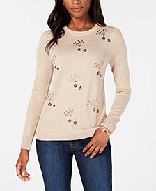 Tommy Hilfiger Metallic Flower-Embellished Sweater, Created for Macy's