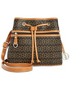 Giani Bernini Block Signature Drawstring Bucket Bag, Created for Macy's
