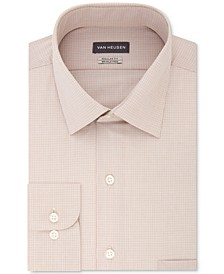 Men's Classic/Regular Fit Wrinkle Free Solid Micro-Check Dress Shirt