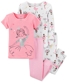 Carter's Toddler Girls 4-Pc. Ballerina Snug-Fit Cotton Pajama Set