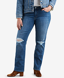 Levi's® Plus Size 414 Distressed Straight Jeans