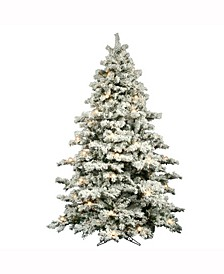9' Flocked Alaskan Pine Artificial Christmas Tree with 900 Clear Lights and 50 G50 White Lights