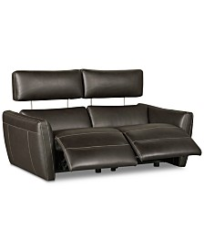 "CLOSEOUT! Fanna 68"" 2-Pc. Leather Sofa Sectional with 2 Power Recliners and Articulating Headrest, Created for Macy's"
