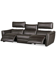 "Fanna 96"" 3-Pc. Leather Sofa Sectional with 2 Power Recliners and Articulating Headrest, Created for Macy's"