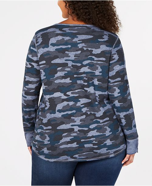 807799804544f0 Lucky Brand Trendy Plus Size Camo-Print Thermal Top & Reviews - Tops ...
