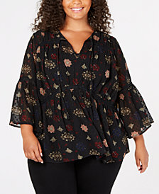 Lucky Brand Trendy Plus Size Peplum Top