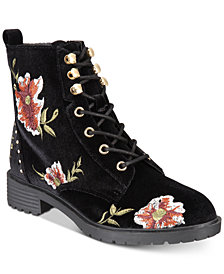 Material Girl Odelia Lace-Up Combat Booties, Created for Macy's