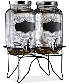 Jay Imports Double Blackboard Glass Beverage Dispenser Set with Metal Stand