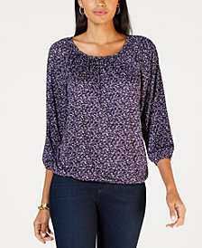 MICHAEL Michael Kors Space Tweed Peasant Top, In Regular & Petites