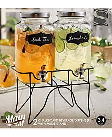 Main Street Double Blackboard Beverage Dispenser Set with Metal Stand